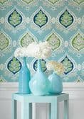 Thibaut Midland Wallpaper in Pink and Coral